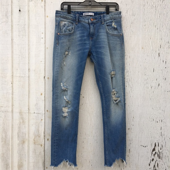 99a0855a Zara Jeans | Denim Blue Distressed Raw Grayed Hem 4 | Poshmark